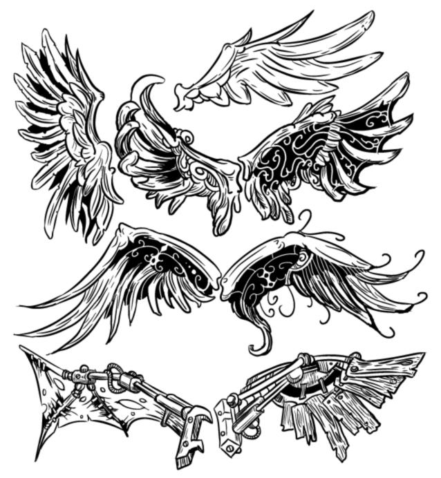 conjuntos de alas en formato vectorial